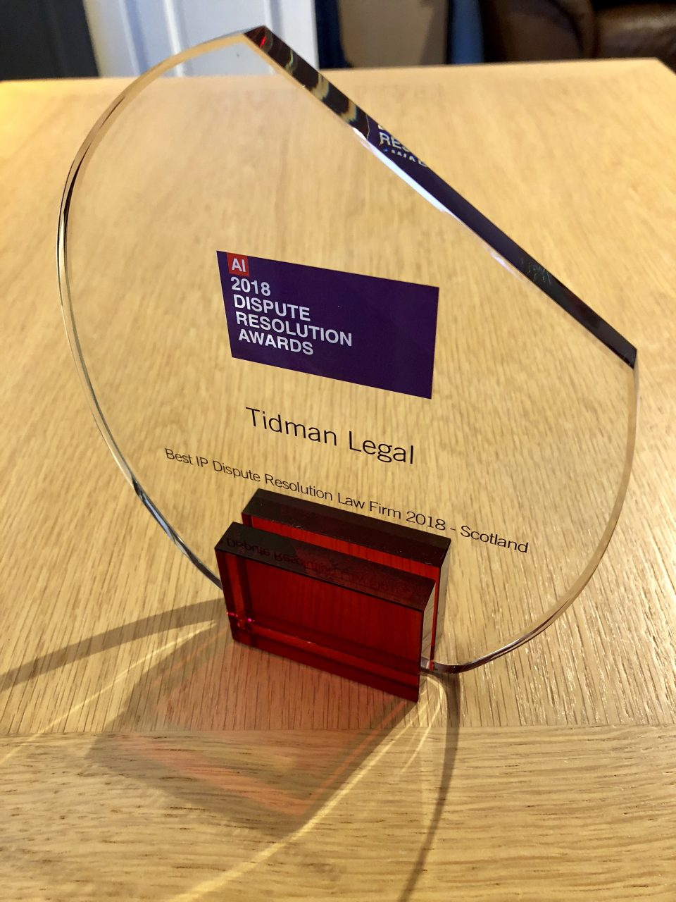 Tidman Legal awarded Scottish IP Dispute Resolution Law Firm of 2018