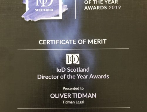 Managing Director of Tidman Legal awarded by the Institute of Directors